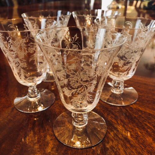 Set 5 Fostoria Heather Footed Juice Goblets Vintage Elegant Etched Crystal