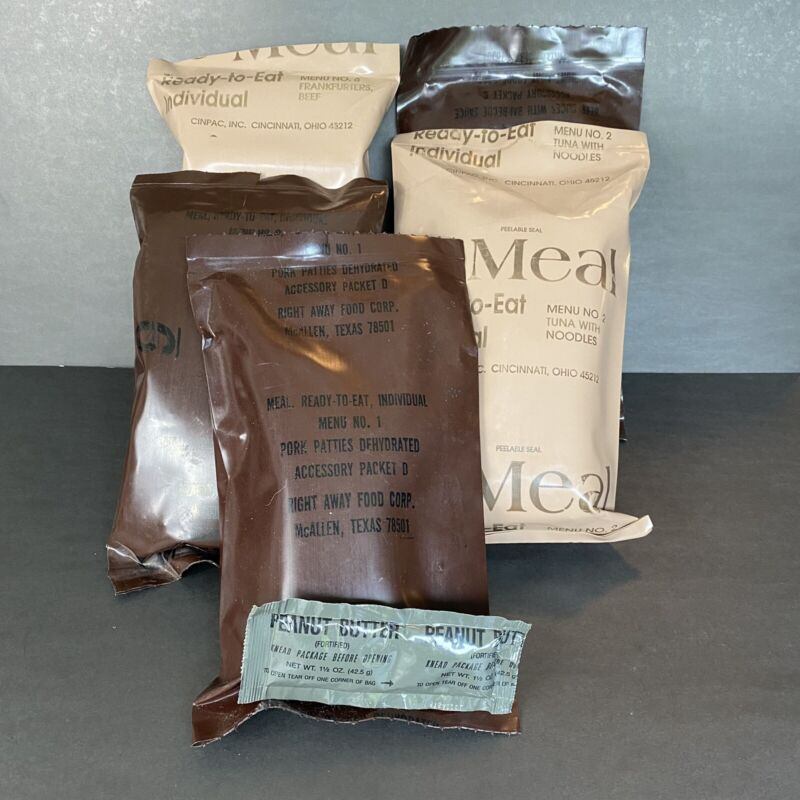 Lot 5 Ready-To-Eat Meals Emergency Survival Ration Storage Hunting Camping