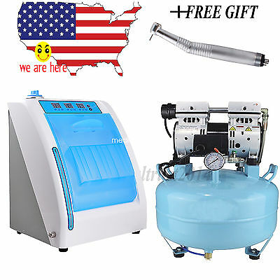Dental Medical Silent Oilless Air Compressor W Handpiece Oiling Lubricating Unit