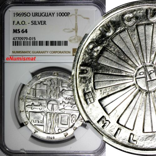 Uruguay Silver 1969 SO 1000 Pesos F.A.O. NGC MS64 Mintage-500,000  37mm KM# 55