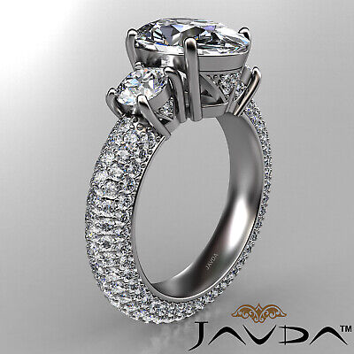 Women's 3 Stone Pave Set Oval Cut Diamond Engagement Ring GIA F Color VS2 3.8Ct 2