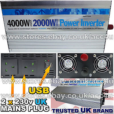 12v Car Battery to 230v 2 Home Mains USB Socket 2000w, 4000w Peak Power Inverter