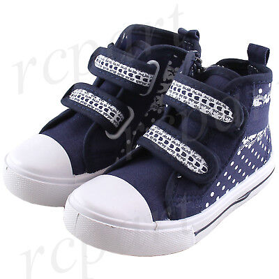 New girl's kids casual shoes navy blue polka dots canvas zipper comfort ()