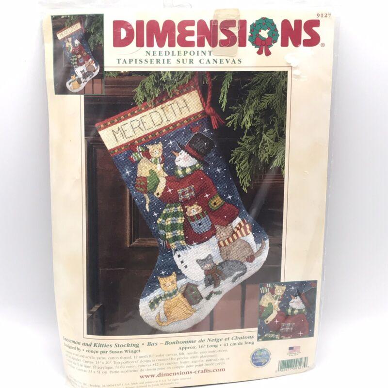 "New Dimensions Needlepoint ""Snowman & Kitties"" 16"" Lng Stocking Kit #9127 Winget"