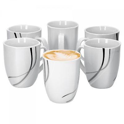 6 Becher Set (6er Set Kaffeebecher Silver Night 33cl Weiß Kaffeetassen Becher Tassen Porzellan)