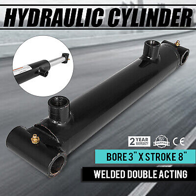 Hydraulic Cylinder Welded Double Acting 3 Bore 8 Stroke Cross Tube 3x8