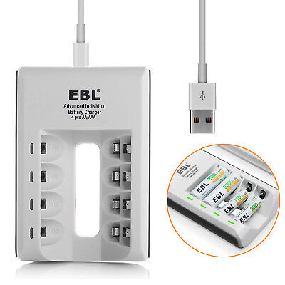 - EBL 4-Bay USB AA AAA Smart Charger For NiMH NiCD Rechargeable Battery 4-Slots