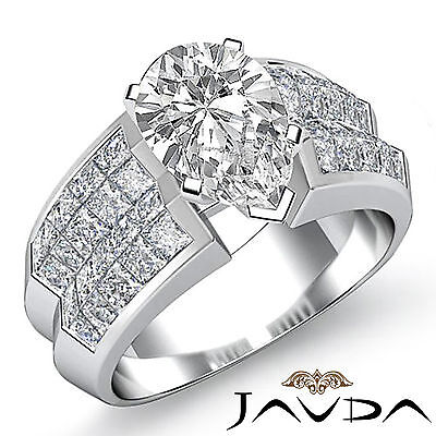 Cathedral Prong Invisible Setting Pear Diamond Engagement Ring GIA G VS2 2.72Ct