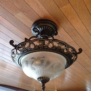 Set of 4 ceiling lights plus matching hanging chandelier