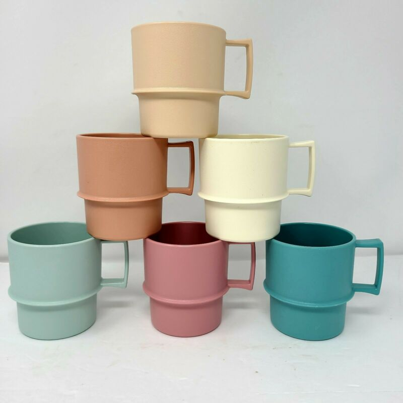 New Vintage Tupperware Stackable Coffee Cups Mugs Set of 6 Pastel - Never used