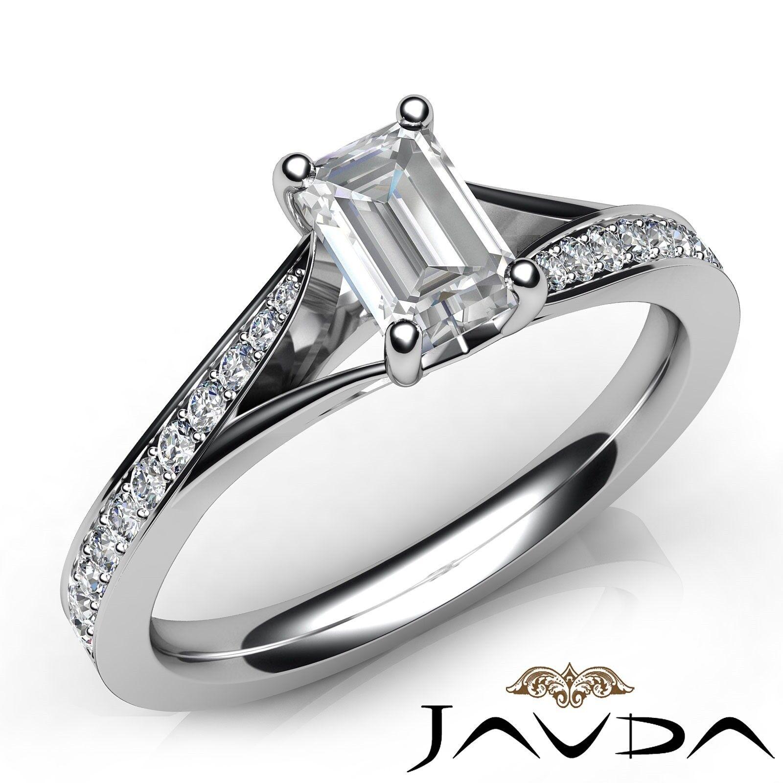 0.85ctw Classic Pave Set Emerald Diamond Engagement Ring GIA E-VS1 White Gold