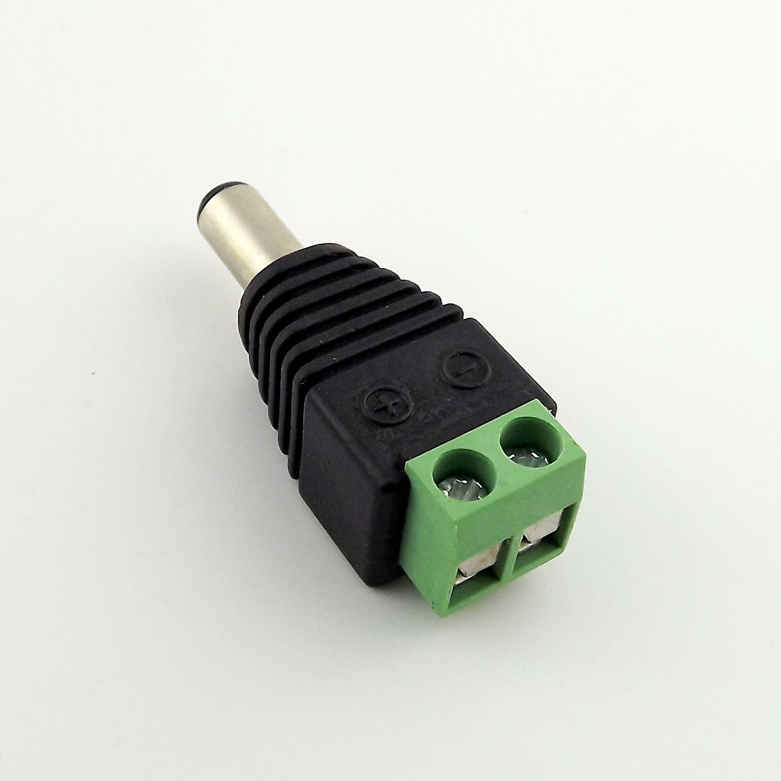 1x CCTV DC Balun 5.5mm x 2.1mm Male LED DC Power Plug Camera Adapter Connector