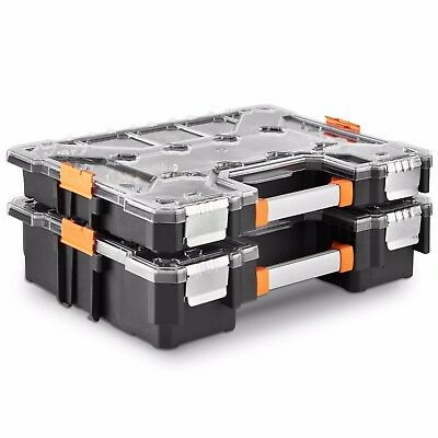 "VonHaus Set of 2 Heavy Duty Tool Storage Box 18"" Small Parts Organizer Portable"