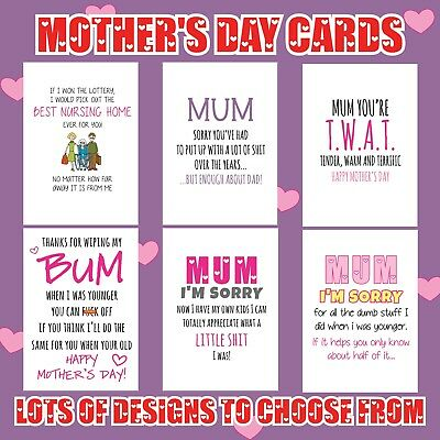 FUNNY HAPPY MOTHERS Day Greeting Cards MUM MUMMY comedy Birthday Joke FUN 132