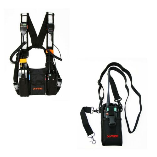 X-FIRE ® Dual Radio Chest Harness and Firefighter Radio Strap Holder Bundle