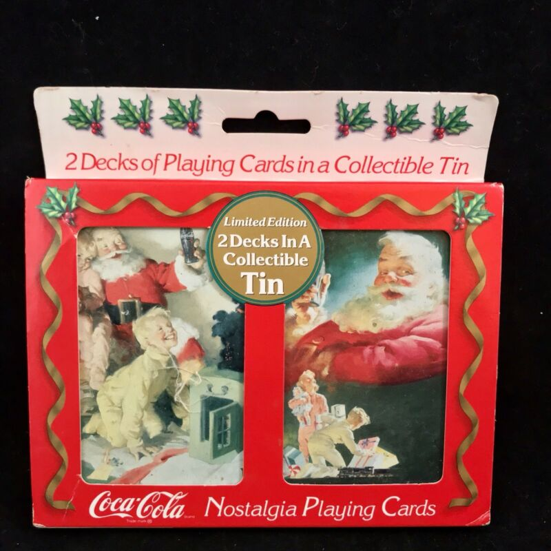 Vintage Limited Edition 1996 Coca-Cola Nostalgia Playing Cards Santa Christmas