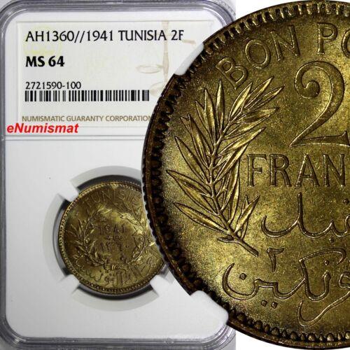 TUNISIA Anonymous Aluminum-Bronze AH1360//1941 2 Francs NGC MS64 TOP GRADE KM248