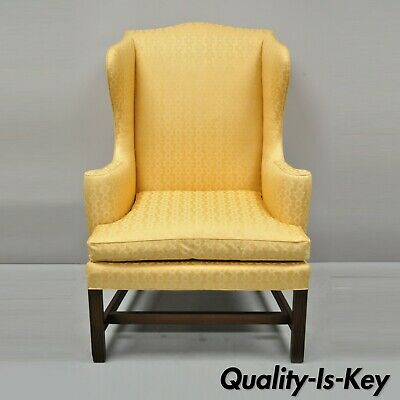 Kittinger CW-12 Colonial Williamsburg Gold Wing Wingback Mahogany Wing Chair
