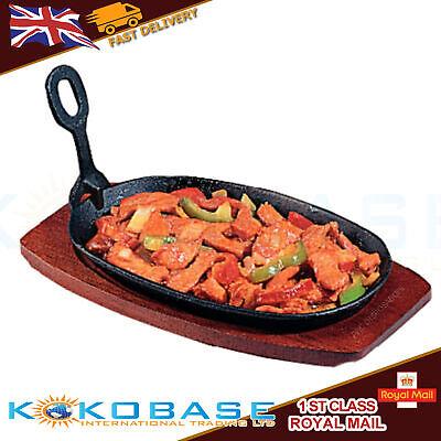 Cast Iron Steak Sizzler Sizzling Serving Platter Plate Dish Wooden Base Large