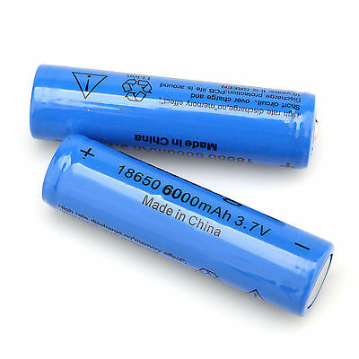 2x 18650 3.7V 6000mAH Li-ion Rechargeable Battery For Flashlight Torch US Stock
