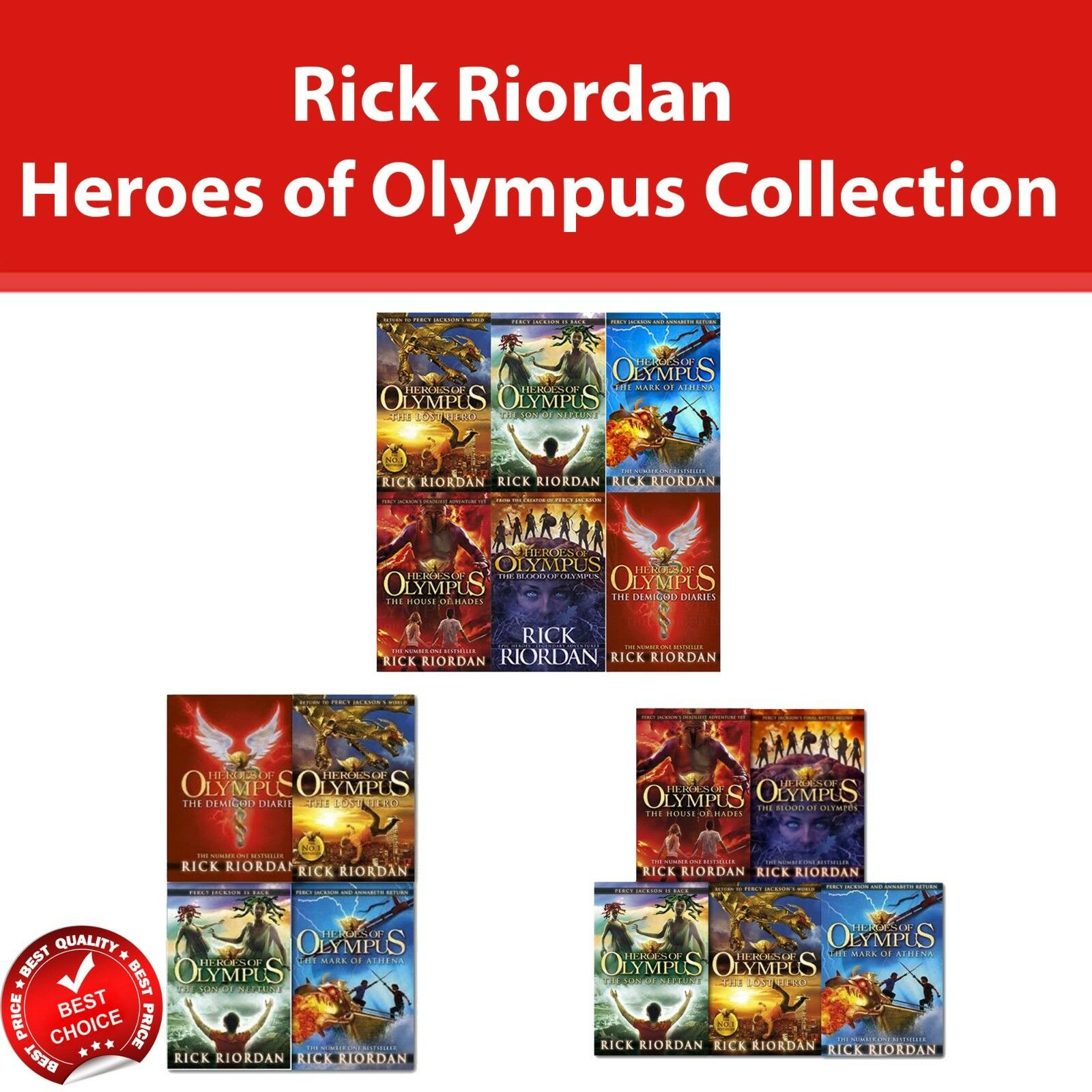 Heroes of Olympus Series Complete Collection 6 Books set by Rick Riordan Pack
