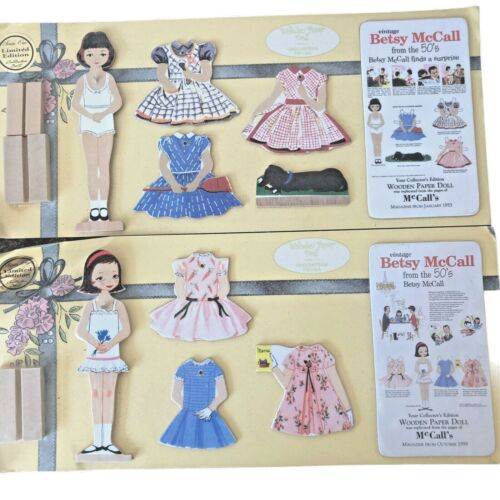 (2) Betsy Mccall Wooden & Paper Dolls 50