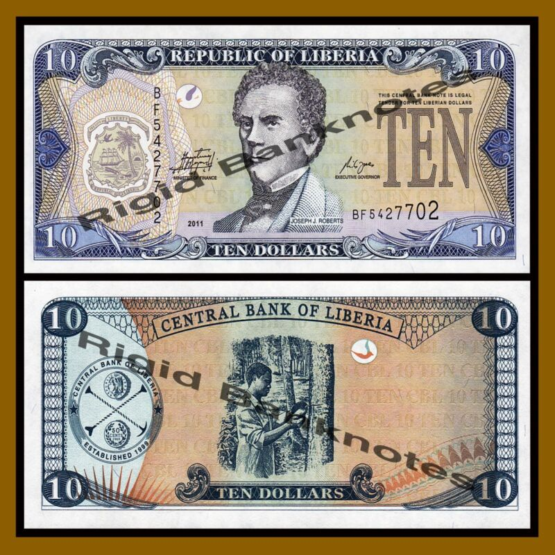 Liberia 10 Dollars, 2011 P-27f Unc