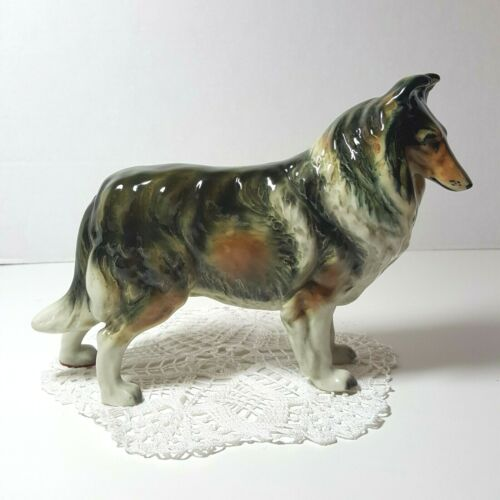 "Collie Dog Large Porcelain Figurine - Occupied Japan - Large 6"" x 9"""