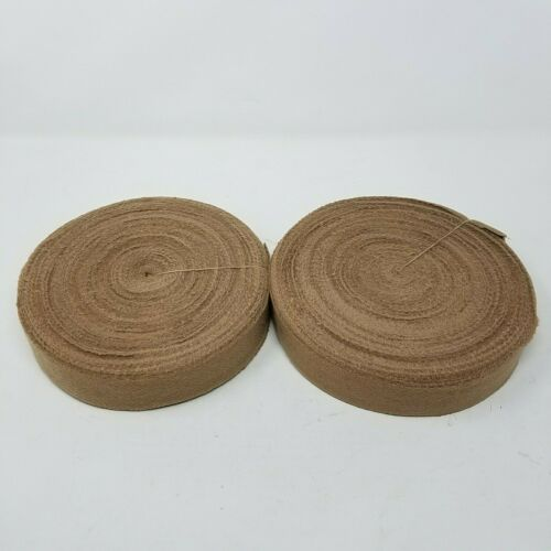 "Rug Braiding Wool Strips Fabric Ribbon Binding Tan Khaki Beige 1.5"" Wide 2 Rolls"