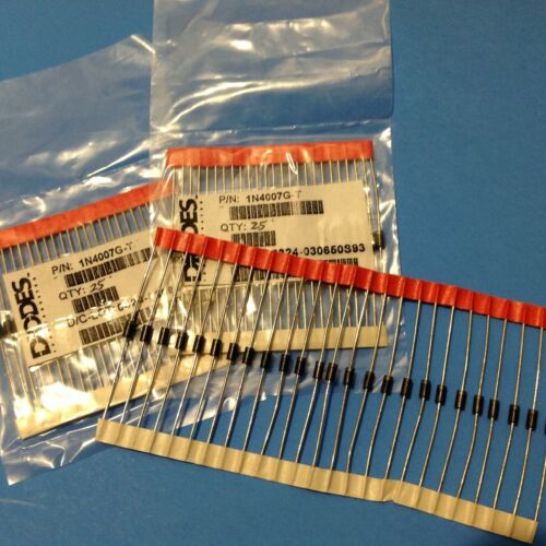 75x 1N4007 DIODES, INC USA Rectifier Diode 1A 1000V IN4007G Tinned COPPER Leads
