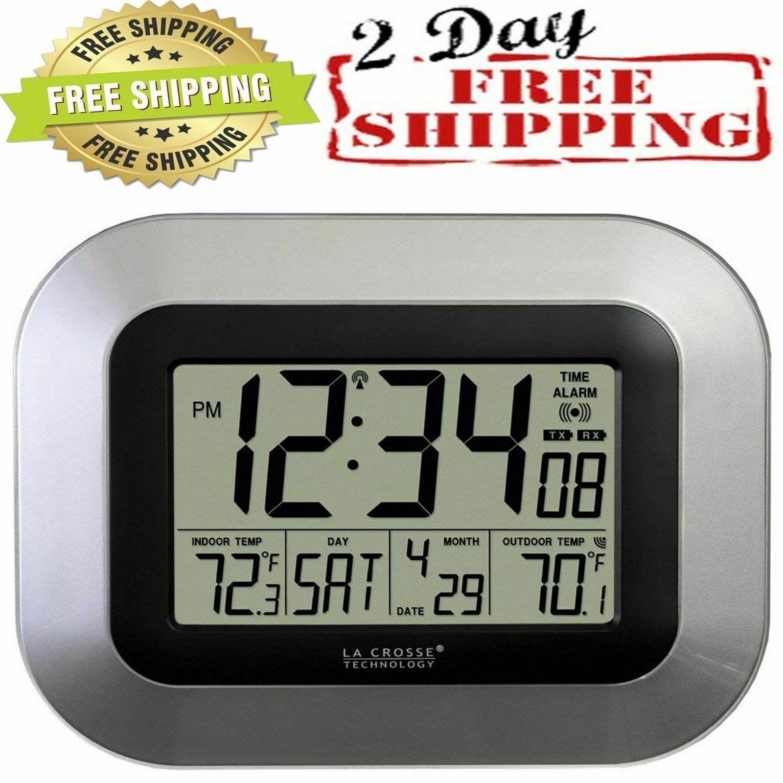 atomic digital wall clock with sensor alarm