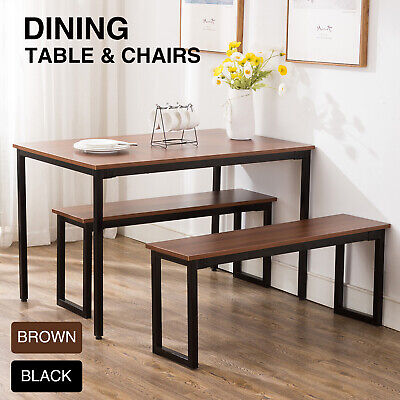 - 3-Piece Wood Dining Table Set With Two Bench Chair Kitchen Furniture Rectangular