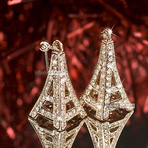 18k rose gold gp genuine SWAROVSKI crystal Eiffel Tower stud earrings