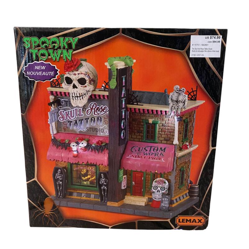 Lemax Spooky Town 2021 Skull & Rose Tattoo Studio #15751 New Halloween Village