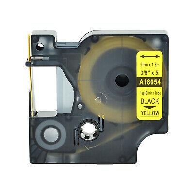 Black On Yellow 18054 For Dymo Rhino 1000 5200 Heat Shrink Tube Label Tape 9mm