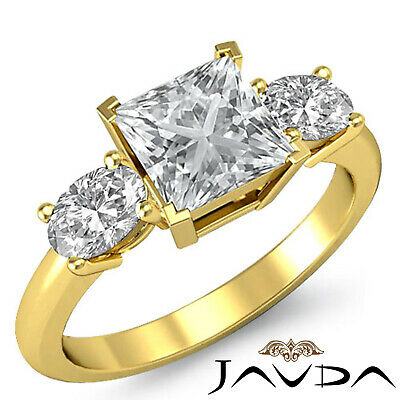Classic 3 Stone Princess Diamond Engagement Prong Setting Ring GIA F SI1 1.5 Ct 3