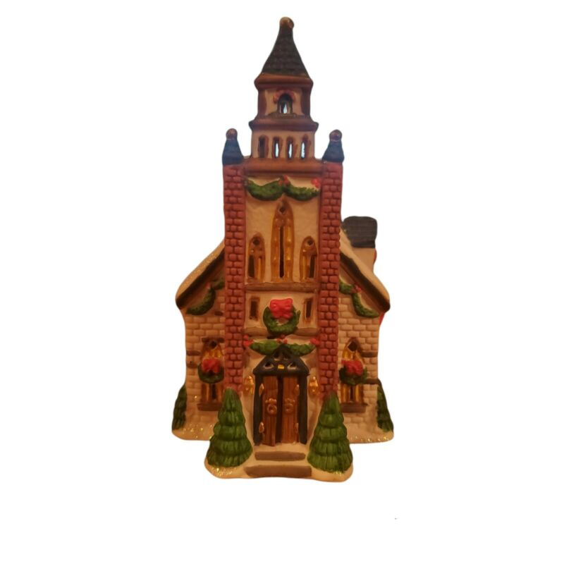 Vintage Trim-A-Home Christmas Village Bayberry LIGHTED CHURCH Porcelain 1997