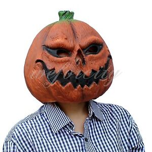 Pumpkin Scary Horror Full Head Latex Mask Realistic Printed Lycra for Halloween