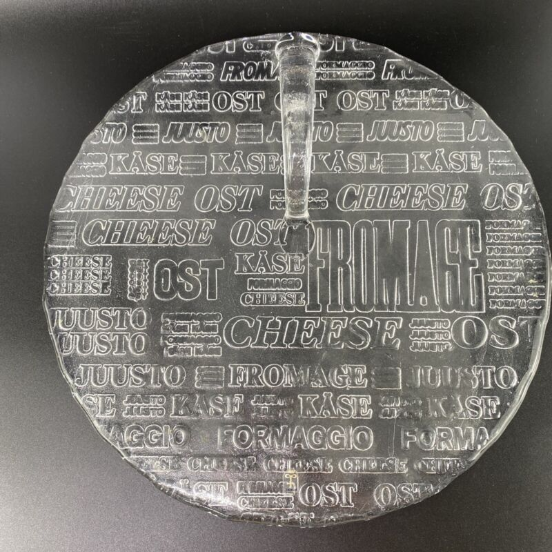 "Vintage 1980s Skruf Sweden Swedish Glass Cheese Serving Platter 12"" Dia. Chipped"