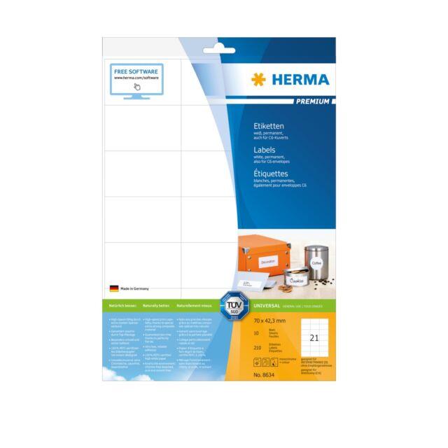 HERMA 8634 weiß  70 x 42,3 mm SuperPrint 210 Stück