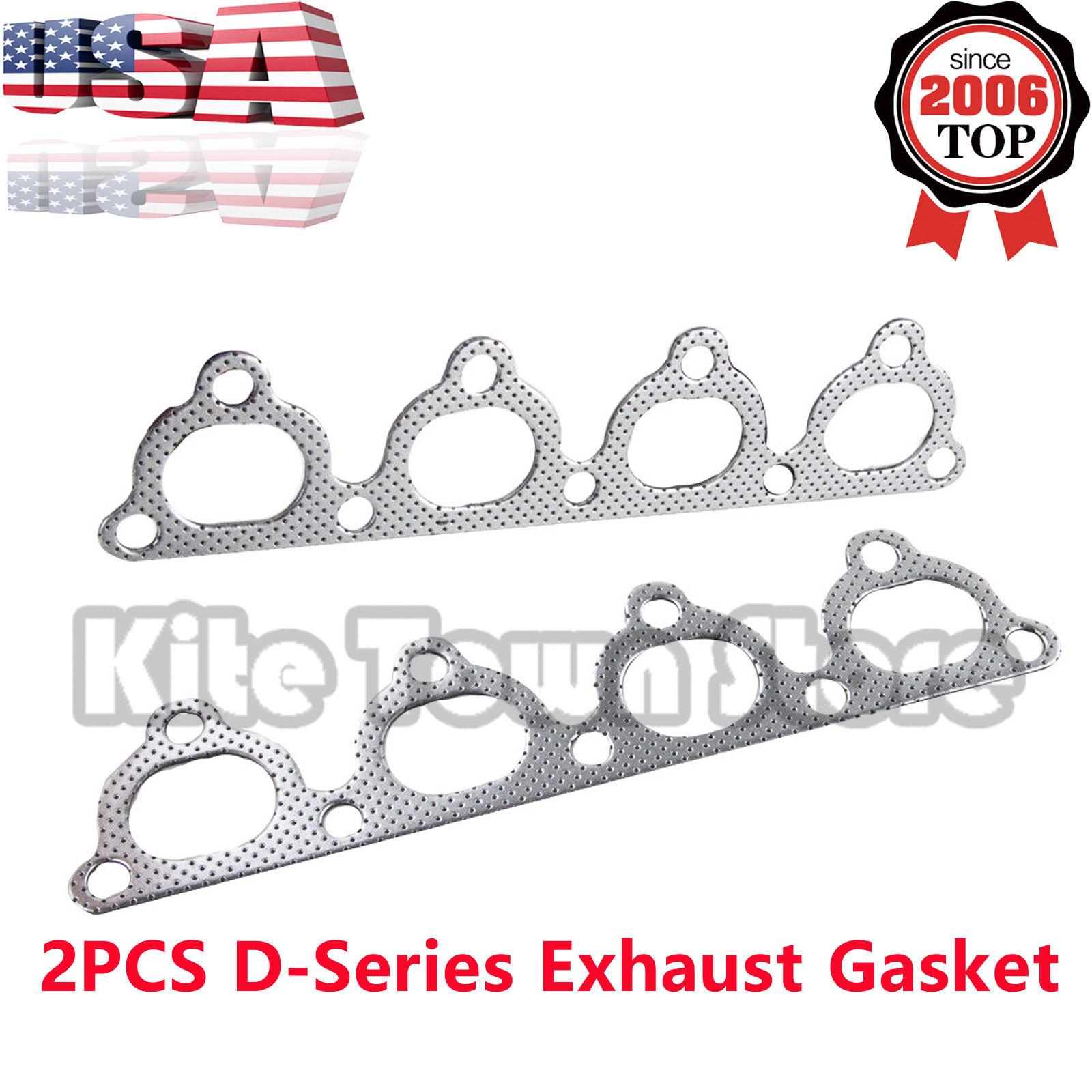 2PCS D-Series Exhaust Header Manifold For Honda Graphite Aluminum Gasket D15 D16