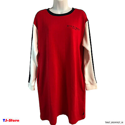 Tommy Casual Knit Dress New Logo Front Hilfiger Authentic Size M Red two -