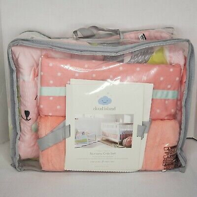 New! Baby Girl Cloud Island Forest Frolic Nursery Crib Set (missing sheet)