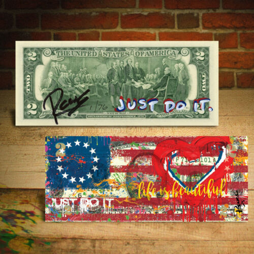 BETSY ROSS FLAG 1776 Heart Signed Rency Genuine $2 Bill - S/N of 76 - JUST DO IT