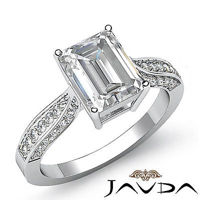 Cathedral Pave Set Emerald Cut Diamond Engagement Ring GIA H VS2 Platinum 1.4 ct