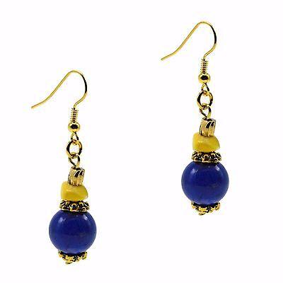 Dangle Bead Drop Fashion Earrings Blue Lapis & Yellow Cats Eye Stone Gold Tone  ()