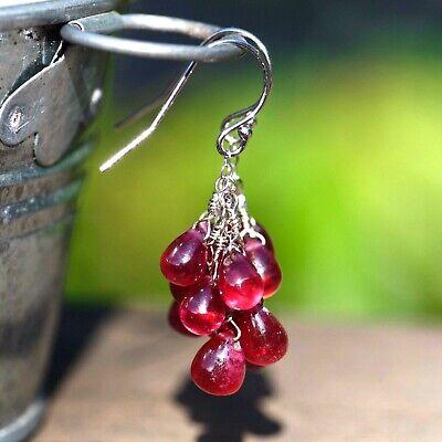 Natural Multi Drop Cascade Ruby Earrings Solid 14K White Gold 40th Anniversary Multi Drop Briolette Earrings