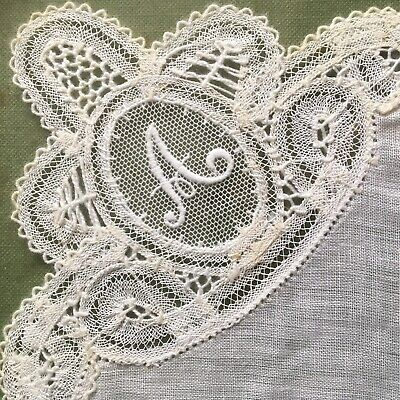 Vintage Framed lace Handkerchief Embroidered Initial A