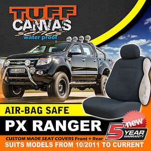 TUFF CANVAS FORD PX RANGER Dual Cab Seat Covers FRONT + REAR XL XLT 10/2011-2014