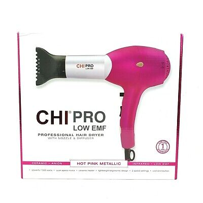 CHi Pro Low Emf Hair Dryer Hot Pink Metallic 1500W Nozzle & Diffuser